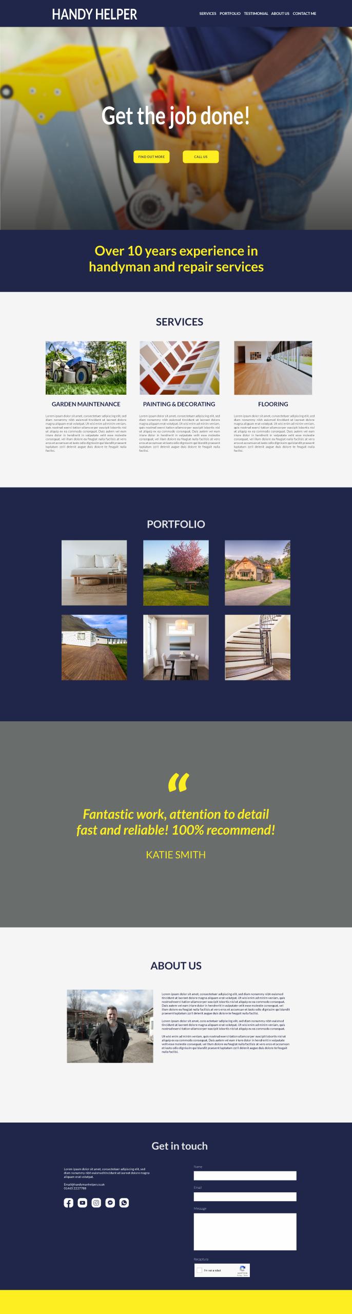 Example of website design for Handyman workman gardener
