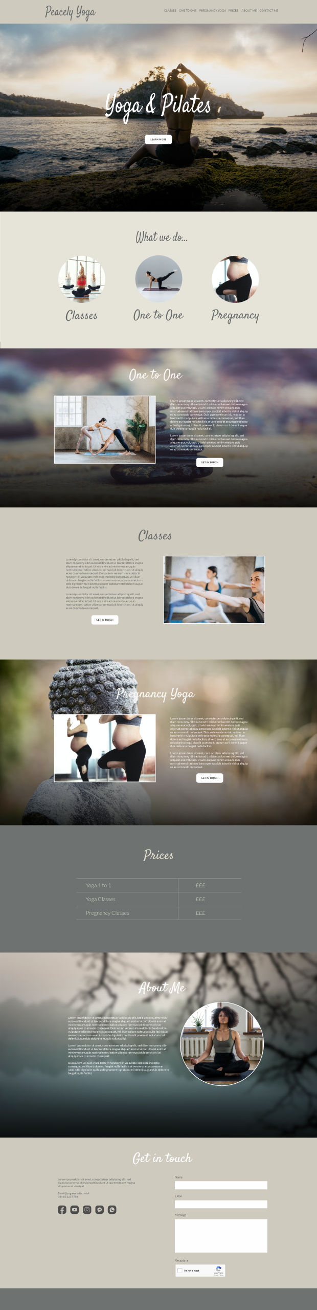 Example of a website designed for yoga or holistic practitioner